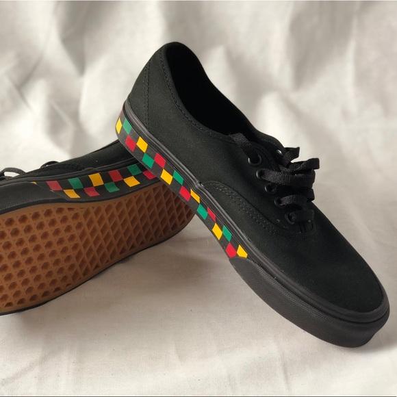 87fdb0a3720977 Vans Authentic Checker Tape Skaters Black Rasta